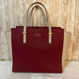 Kate Spade leather color block zip top tote